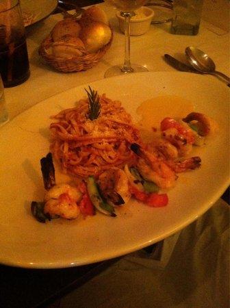 Cappriccio Restaurant and Bar: The shrimp skewer with mango habanero sauce.