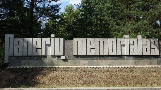 Paneriai (Ponar): Sign at parking lot, Paneriai