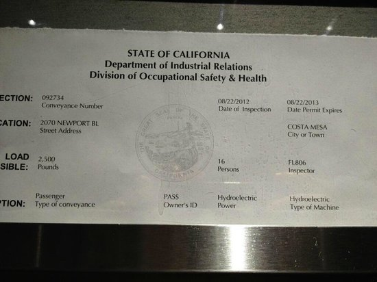 Holiday Inn Express Costa Mesa: Expired Elevator Inspection!! Date of Visit = JULY 2014