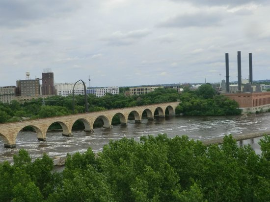 Guthrie Theater: Stone Arch Bridge as seen from Endless Bridge 5th floor
