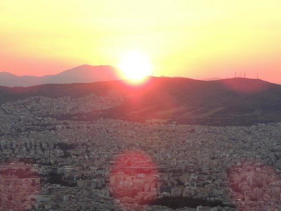 Mount Lycabettus: Sun sets over Athens