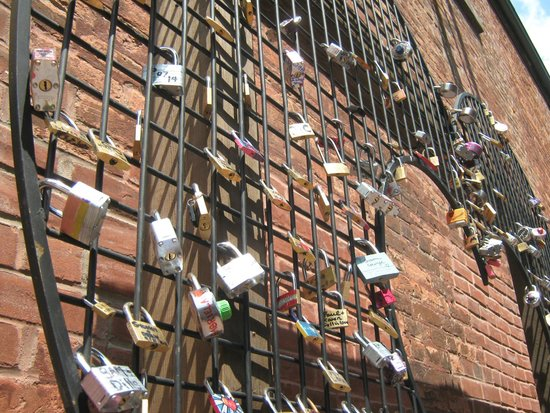 Distillery Historic District: Locks of Love display