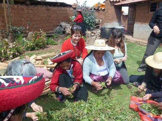 Centro de Textiles Tradicionales del Cusco: preparando tintes naturalers en Chincheros, con el grupo del centro de texties Tradicionales del