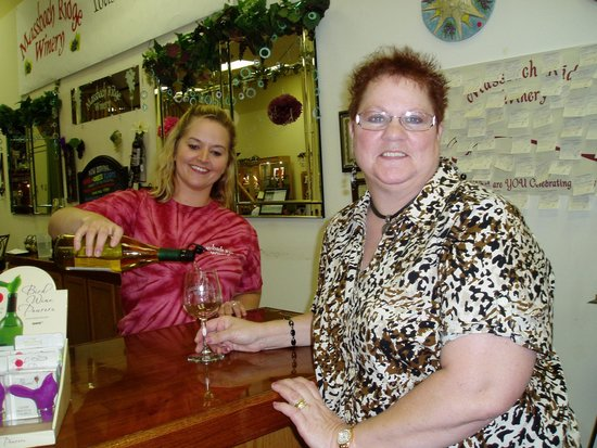 Massbach Ridge Winery: Kathy (sister) being served.  We loved this girl!
