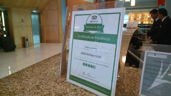 SANA Malhoa Hotel : Presença do Tripadvisor