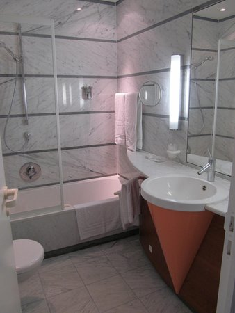 "Chateau de Namur : Marbled bath with ""ice cream cone"" sink!"