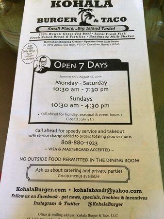 Kohala Burger and Taco : Menu with summer hours