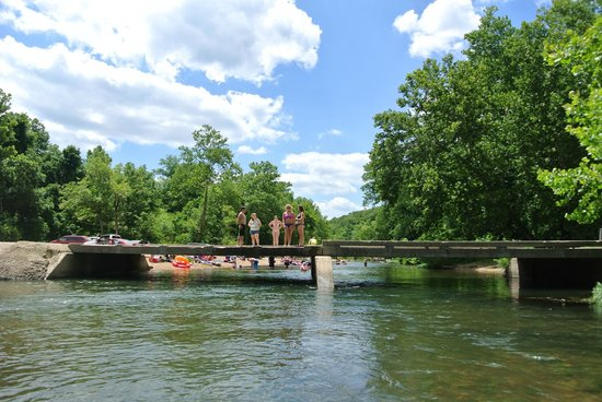Bass River Resort: floating under a bridge