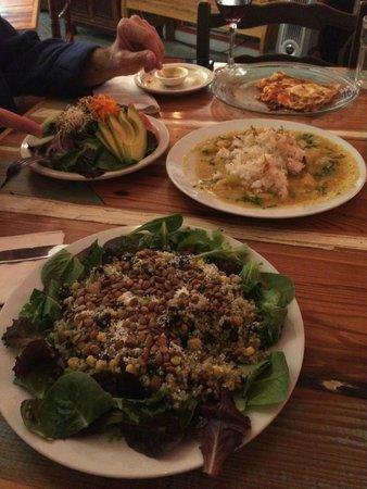 Carmo : esmeralda salad, green salad and daily special green curry shrimp