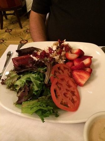 Omni Parker House: Chicken Salad, greens, tomatoes, strawberries.