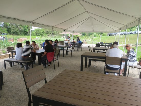 Hockley Valley Resort: Pizza in the Garden at the Organic Garden Tent