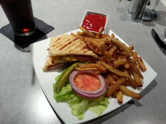 Fire & Ice Restaurant & Bar: Turkey club panini with fries.