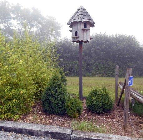 Auberge du Pont Lavoir: De tuin met vogelhuis