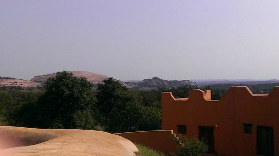 Trois Estate at Enchanted Rock: View from deck above courtyard of Enchanted Rock