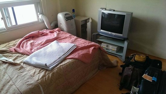 Hwaseong Guest House: Our room included TV, A/C, a fridge and a double bed.