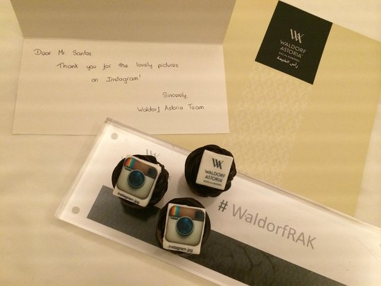 Waldorf Astoria Ras Al Khaimah: Thank You note from the hotel from uploading photos on Instagram #WaldorfRAK