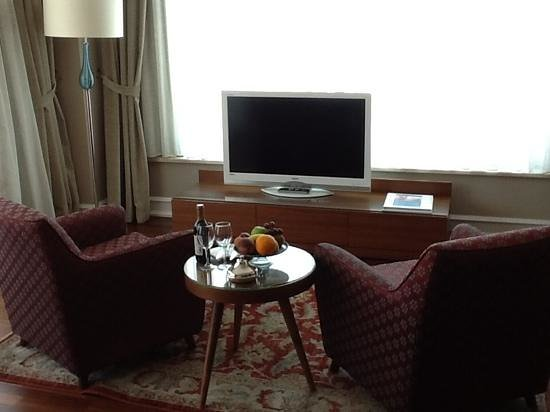 Neorion Hotel: Sitting area and TV