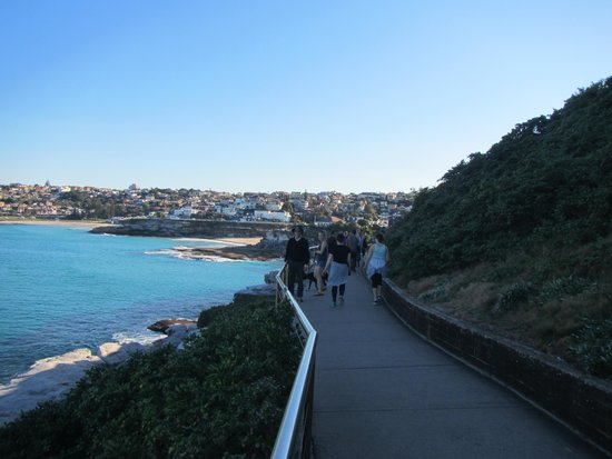 Bondi to Coogee Beach Coastal Walk: Showing the next couple beaches to walk by and showing how many people are using the walk