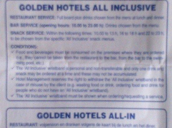 Hotel Golden Port Salou: All Inclusive rules