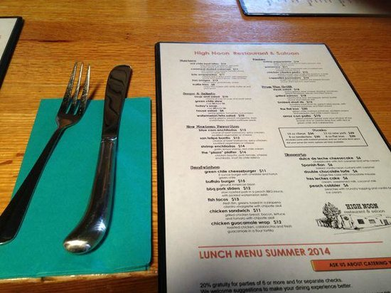High Noon Restaurant & Saloon: Summer menu from restaurant High Noon