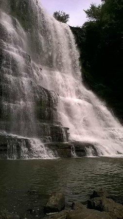 """Burgess Falls State Park: At the base of """"Big"""" Falls"""