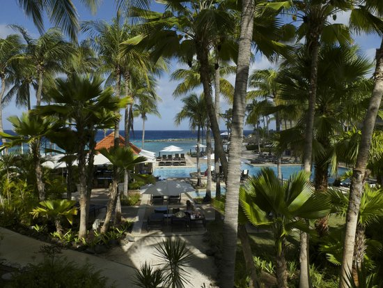 Curacao Marriott Beach Resort & Emerald Casino: View from room of the pool and beach