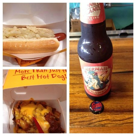 Coney Island USA: Nathan's hot dog with krout, chili cheese fries & Coney Island Pilsner-Mermaid style!