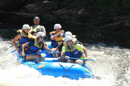 Wildwater Rafting - Chattooga: One of the boats about to go through Bull Sluice
