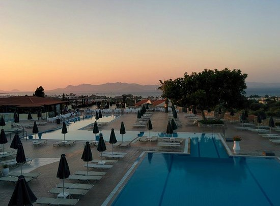 Aegean View Aqua Resort: Pool are and view from Ala Carte