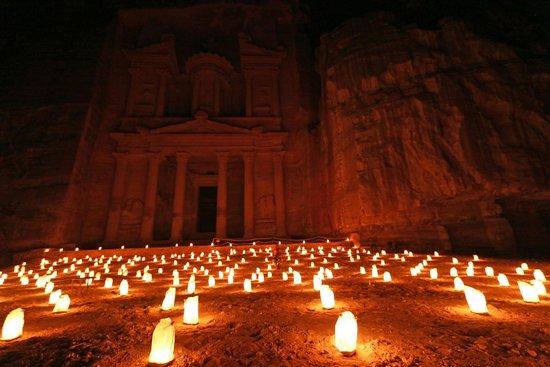 Petra By Night: Treasury at Petra (night)