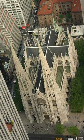 St. Patrick's Cathedral: The view of the Cathedral from Rockefeller Center