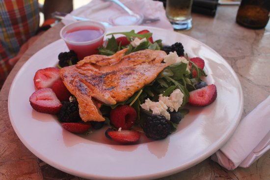 Bistro 821: A Fresh Salmon Salad cai muito bem com um bom pinot noir.