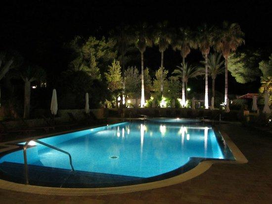 Hotel Cala Sant Vicenç: Pool lit up at night