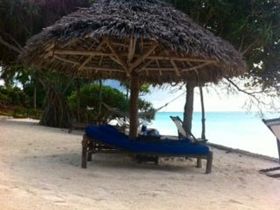 Ras Nungwi Beach Hotel: Under a cabana, even protects from the rain