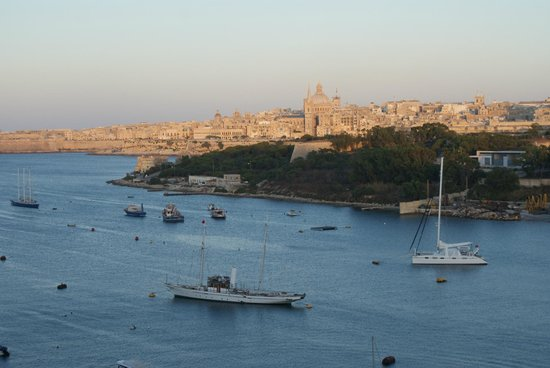 The Waterfront Hotel: Looking across to Manoel Island