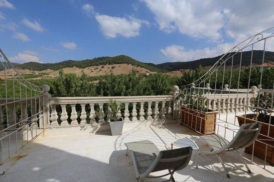 Le Palais des Cerisiers: terrasse de notre chambre