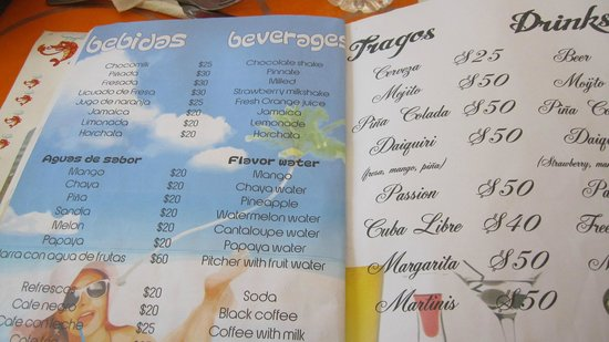 Ruben's Restaurant Isla Mujeres: Sample of the drink menu - food menu is extensive