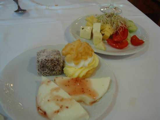 Hotel Kompas: a selection of desserts and fruit , also a buffett style salad very night