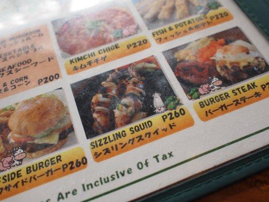 Surfside Boracay Resort & Spa: 併設のレストラン渚 MENU