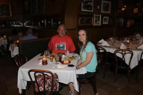 Jennifer Campbell and her dad Ken dining inside at Columbia Restaurant in Celebration.