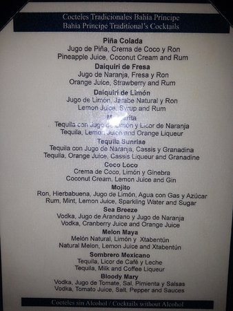 Cocktail List At Lobby Bar Picture Of Luxury Bahia
