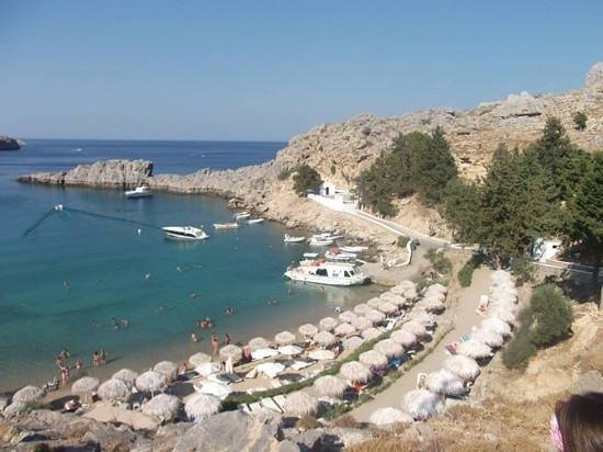 Agios Pavlos Beach (Saint Paul): over looking the bay and chapel