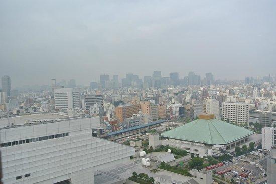 Dai-ichi Hotel Ryogoku: Daylight view from our room, with Ryogoku sumo stadium