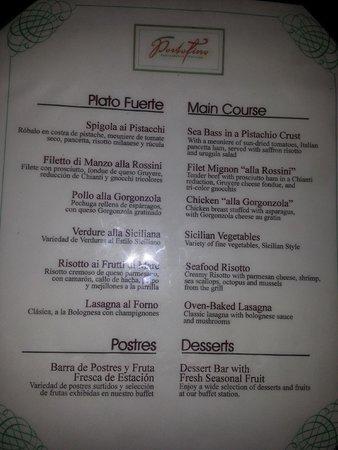 Portofino Restaurant Punta Cana Menu