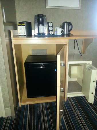 Blue Horizon Hotel: The safe and the secret hidden mini fridge - very useful for your groceries