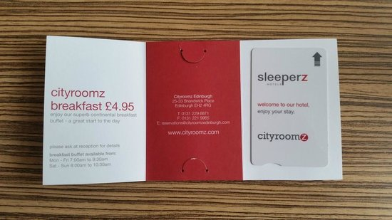 Cityroomz Edinburgh : Entry card