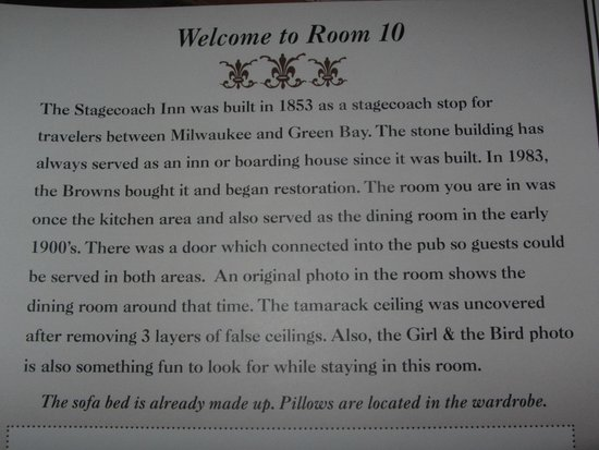 The Stagecoach Inn Bed and Breakfast: Info about room 10