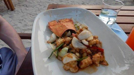 The Sarojin: rock lobster at the beach bar!