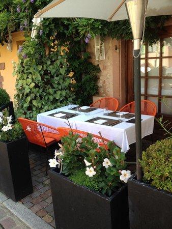 Terrasse côté trottoir,  aux cote vigne...