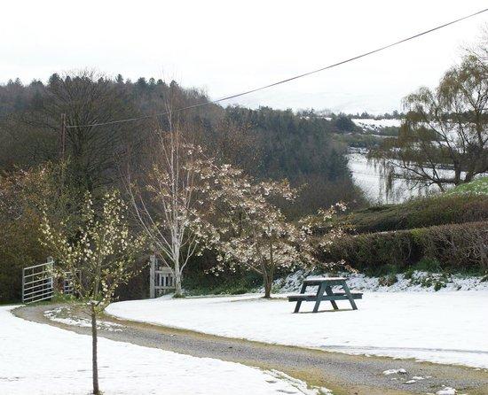 Plas Efenechtyd Cottage B&B: Garden in the snow